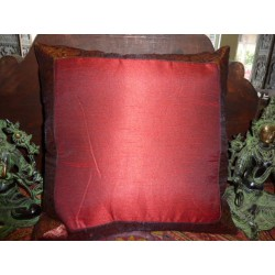 cushion cover 40x40 bordeaux taffetas border brocade