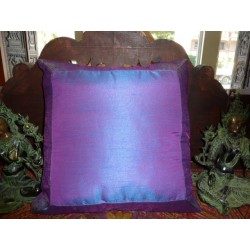 cushion cover 40x40 blue purple taffetas border brocade