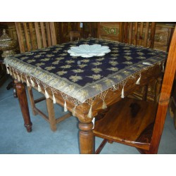 table cover organdi sheer 110x110 cm blue