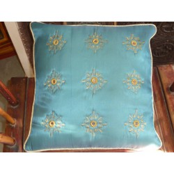 Cushion cover 40X40 arabesques miroirs Turquoise