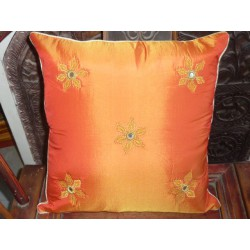 Cushion cover 40X40 flower miroirs orange