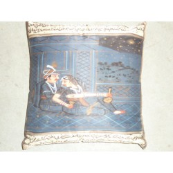 Housse 40X40 Bande bleu/bordeau/orange