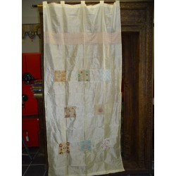 Ecru taffeta curtains with patchwork