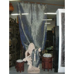 Blue organza curtains Prussian
