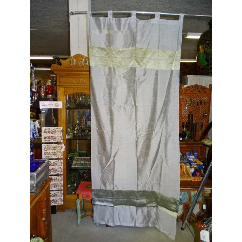 Taffeta Curtains With Double Brocade Grey