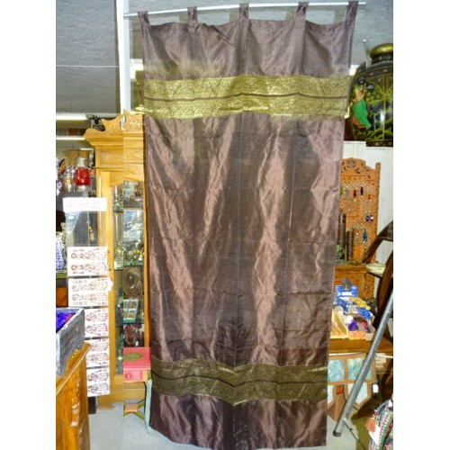 Taffeta curtains with double brocade - purple