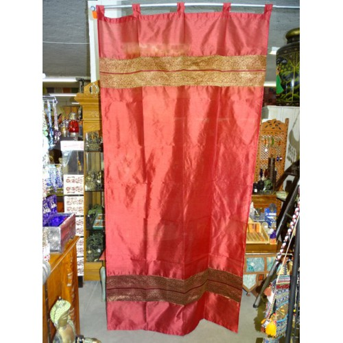 Taffeta curtains with double brocade - burgundy
