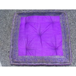 Cushion of Floor purple brocade edges
