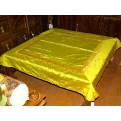tablecloth yellow brocade edge