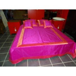 Quilt cover brocade pink border saree