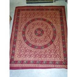 Cotton wall hanging or bedspread color burgundy with golden elephants