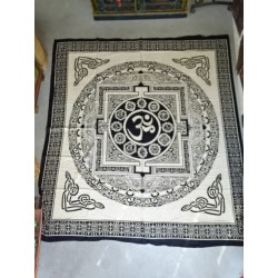 Cotton wall hanging or black bedspread with golden elephants