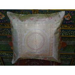White mandala cushion cover with brocard edge