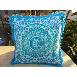Cushion covers 40x40 cm green and turquoise with fringes