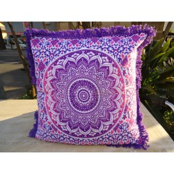 Cushion covers 40x40 cm of purple and pink color with fringes