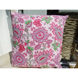 Cushion cover in 40X40 cm printed with pink and gray flowers
