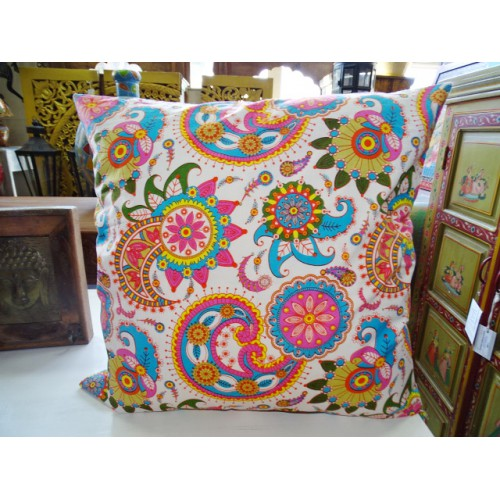 Pillow cover 60X60 cm printed with pink and turquoise kashmeer