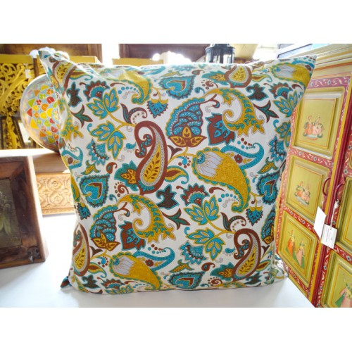Pillow case 60X60 cm printed with kashmeer turquoise and beige chocolate