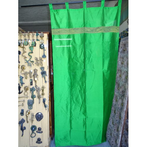 Spring green taffeta curtains with a brocade band