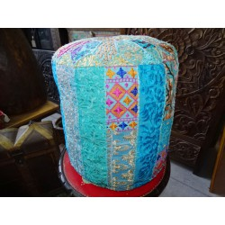 Indian pouf in recycled turquoise fabric diameter 38 cm and 40 cm high