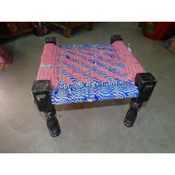 Indian low stool with seat in multicolored cord - 2