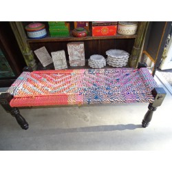 Long Indian bench with seat in multicolored twine rope - 2