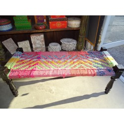 Long Indian bench with seat in multicolored twine rope - 5