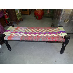 Long Indian bench with seat in multicolored twine rope - 6