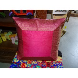 cushion cover 40x40 bordeaux / taffeta pink with brocade edge