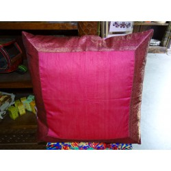 pillow cover 60x60 in burgundy / pink taffeta with brocade edge