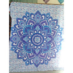 Cotton hanging 220 x 200 cm with blue lotus flower