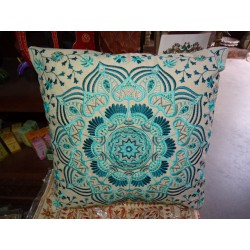 Blue embroidered cotton covers 40x40 cm