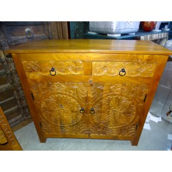 Small carved sideboard 2 drawers 2 doors light patina 100x90 cm