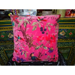 Velvet covers 40x40 cm with bird of paradise CORAL