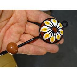 Cover foliage embroidered khaki 40x40 cm