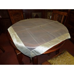 Brocade tablecloths sheer 110x110 cm white
