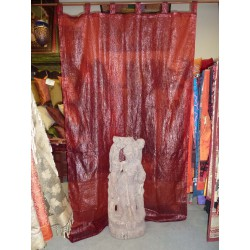 Tulle ruffled burgundy curtains