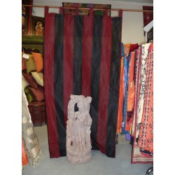 Curtains Madras burgundy and black