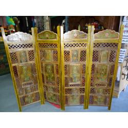 voilage Madras carreaux or et bordeau